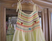 Reserved for Susan....Vintage Handmade Yellow Smocked Sundress