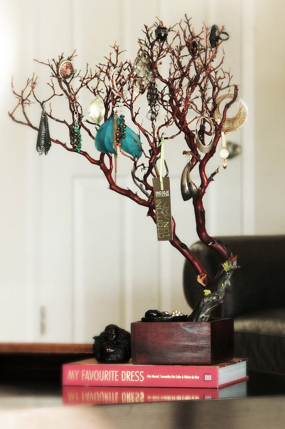 "24"" Red Jewelry Tree / Jewelry Organizer"