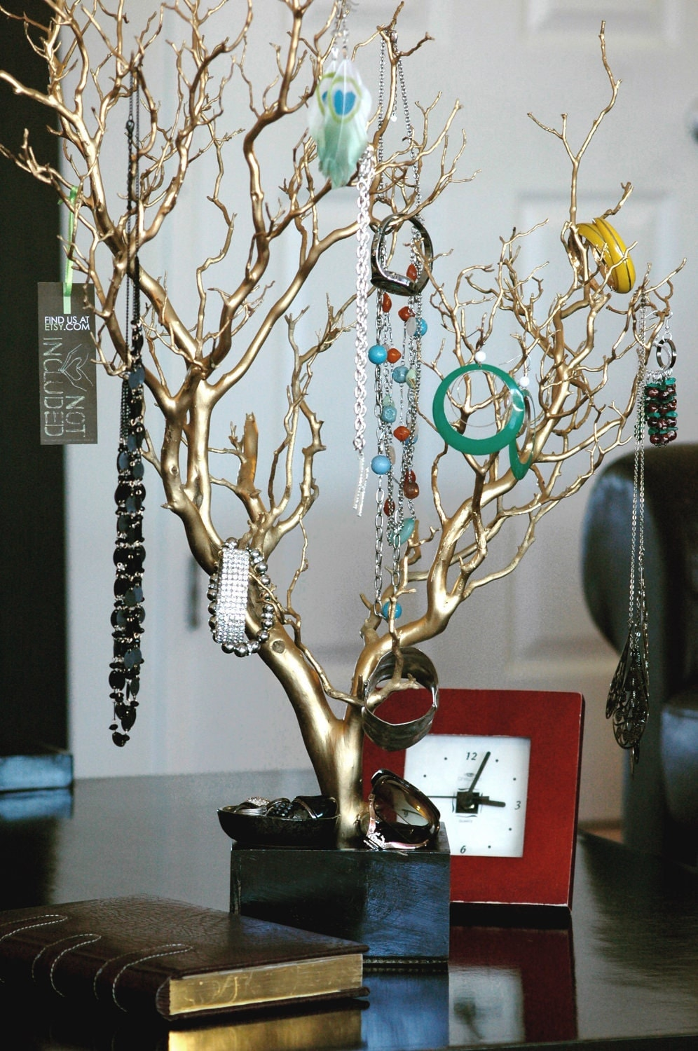 30 gold painted jewelry tree jewelry organizer west for Tree branch jewelry holder