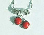 Necklace with enameled red cherries on a vine - simple but very charming