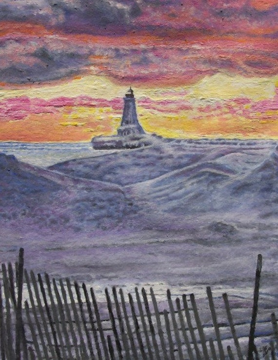 Lundington Michigan Lighthouse In The Winter Limited Free