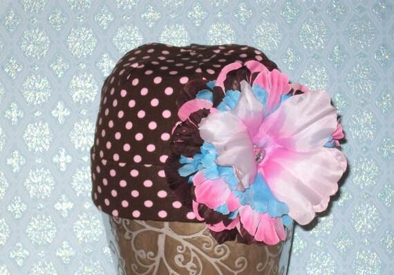Polka Dot Beanie with a Flower