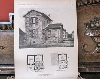 French Illustration - Photogravure of a little house from 1923 - Garden Cities -  Petittes Habitations Economiques Et Ouvrieres (PL19)