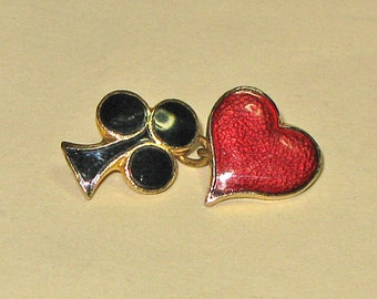 1 piece Vintage Cuff links - Club and heart