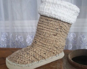Crochet Pattern Boots--------- Fur Cuffed Mid Calf Boots-----2 for one----you also get my pattern for slipper soles