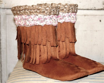 Sewing Pattern Boots------MOCASSIN BOOTS with 3D rose trim---------use any fabric you want---for outdoor wear too----Instant Download