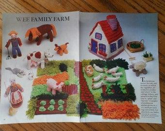 Crochet Pattern--------FARM SET-----Includes Farmer/Wife/Animals/House and Yard on a Latch Hook Canvas