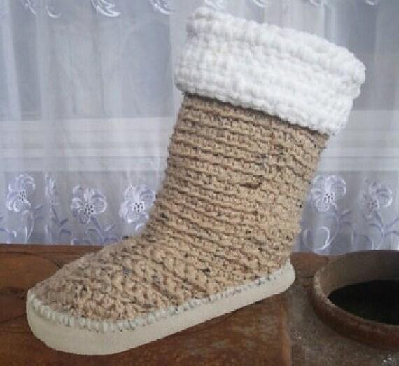 Free Crochet Pattern Slippers Cuffed Boots : Crochet Pattern Boots Fur Cuffed Mid Calf Boots2