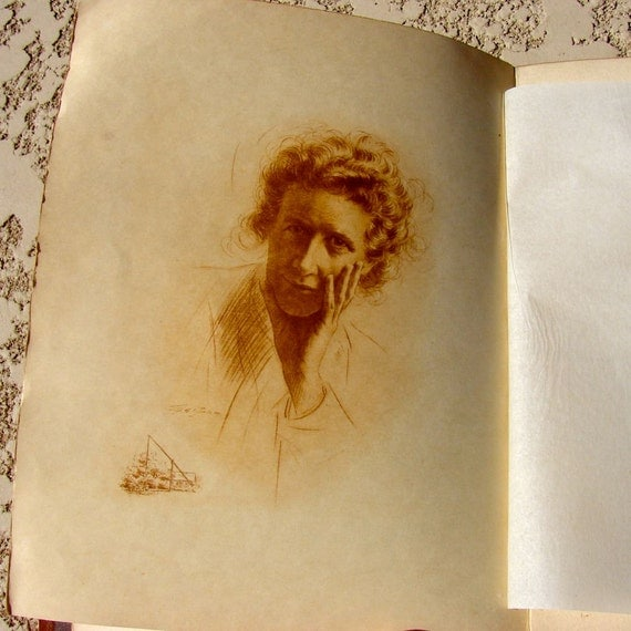 Antique Book by Alice Hubbard Woman's Work 1908 Suede Journal FREE SHIPPING
