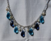 Reserved for Amy-Briolette Dangle Necklace in Aqua and Blue