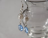 Light Blue and Pearl Earrings