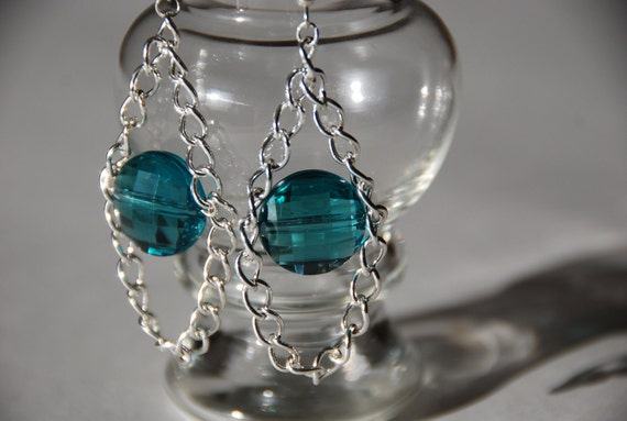 Chunky Teal Chandelier Earrings