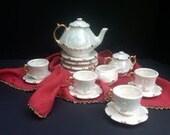 Vintage Miniature Tea Set Childrens Child Lusterware 1986
