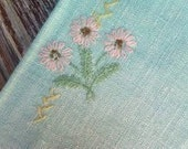 RESERVED for Rachel - Vintage Blue & Pink Kitchen Tea Towel Embroidered Flowers