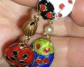 Ladybug Gold Enamel Earrings