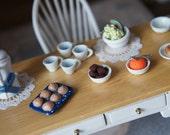 Dollhouse Breakfast Food - Miniature Breakfeast Tea Set - Miniature Clay Food - Doll House Kitchen Treats - Tea Time