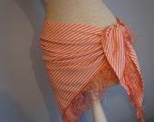 Bathing Suit Cover Up - Marilyn Monroe Retro Swim Wear - Peach Coverup - Coral Beach Wrap - Salmon