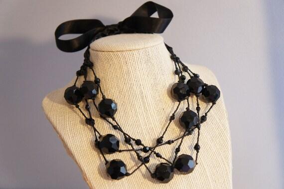 Large Black Crystal Necklace - Black Choker - Large Crystal Necklace - Satin Bow Necklace - Mother Of The Bride Jewlery - Prom Accessory