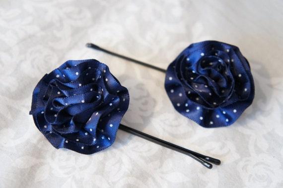 Navy Flower Pin - Polka Dot Hair Clips - Nautical Flower Girl Hair Accessory - Nautical Beach Wedding - Blue Barrettes