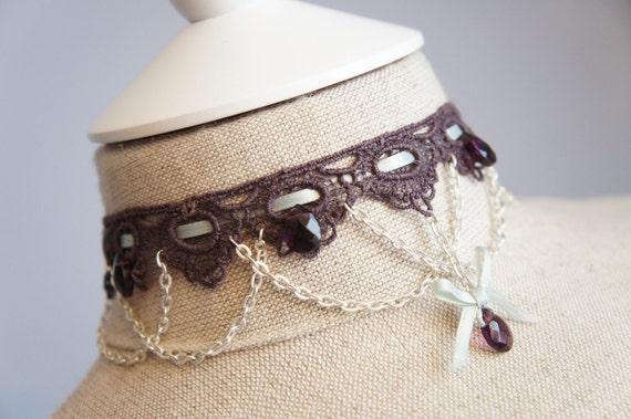 Purple Victorian Necklace - Steampunk Choker - Lolita - 18th Century Princess - Marie Antoinette Choker - Theatrical Jewelry
