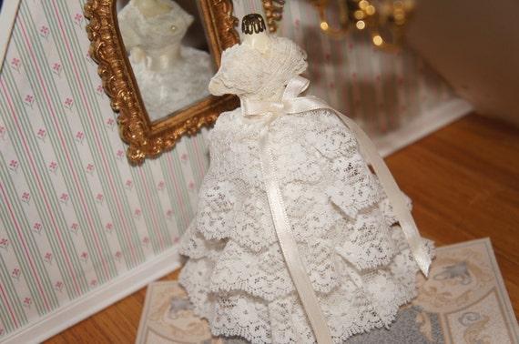 Miniature Victorian Dollhouse Wedding Gown Miniature White