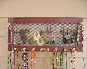 purple heart jewelry organizer, purple heartwood, jewelry storage, earring holder, woodworking, Montana, necklace holder, purple wood