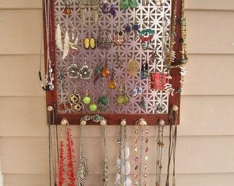 jewelry organizer jewelry holder jewelry storage jewellery earring holder bubinga African wood sustainable wood