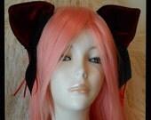 RESERVED for HisGothicAngel,  Kitty Ears, Red/Burgundy/Black Velvet, Ribbon Rose, Large size