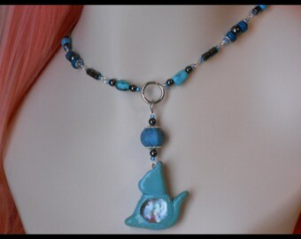Locking Pet/Kitty Collar, hematite, turquoise, and blue with hand made cat charm
