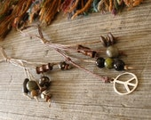 2 Hair Ties Hemp Beads Gem Stone Wood TT Team ESASO Team