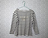 90s black and white stripe sweater / Paris, France applique sweater blouse