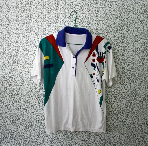 RESERVED 80s geometric color block abstract polo shirt M - L