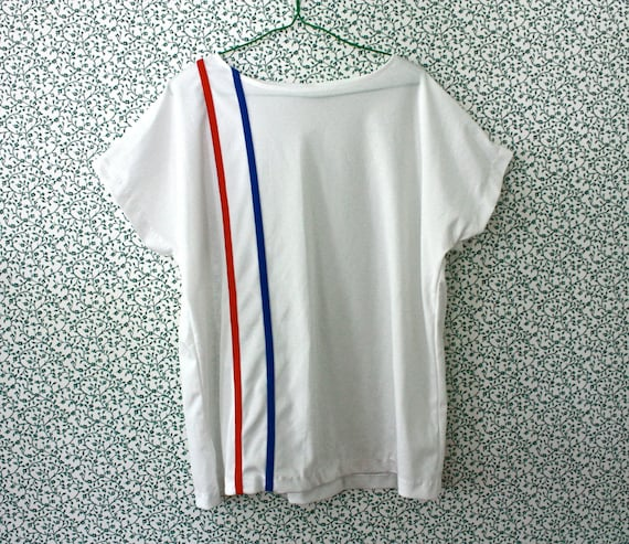 1980s red white and blue striped blouse XL