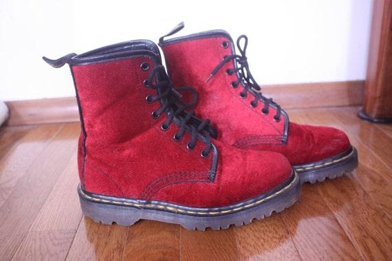 ORIGINAL Red Velour Doc Martens