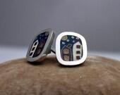 Sterling silver cloisonne enamel starry night earrings