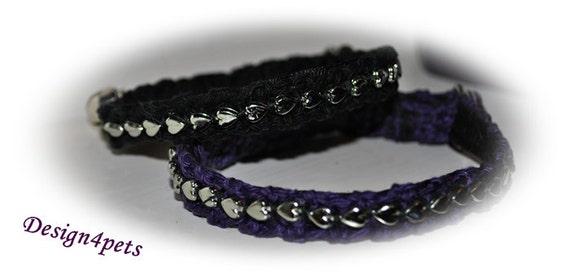 Silver hearts - Black cat collar