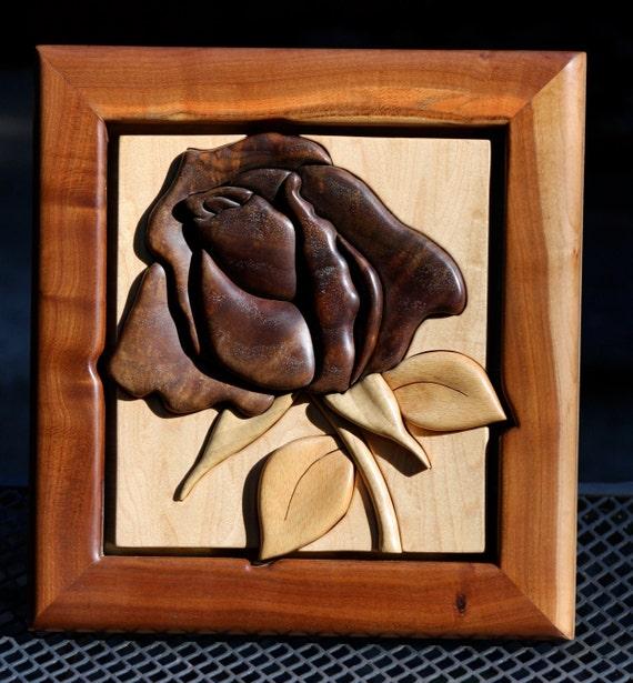 Black Walnut Intarsia Rose