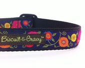 "Dog Collar with Bright Flowers on Deep Purple - 1 inch width - ""Maria"""