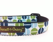 Dog Collar with Blue and Olive Green Split Pea Ribbon