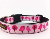 """Dog Collar with Pink Birds and Trees - 1"""" width - """"Sweetie"""""""