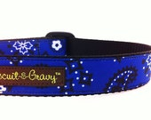 "Dog Collar with Blue Bandana Print - 1 inch width - ""Ryan"""