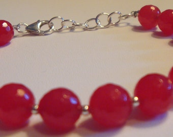 Glass Beaded Silver Ruby Bracelet Ruby Red Bracelet Red Bracelet Beaded Bracelet Ruby Bracelet Red Bead Bracelet Sterling Silver Bracelet