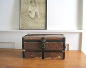 Antique Small Trunk - Doll Trunk - Rustic Cottage Decor