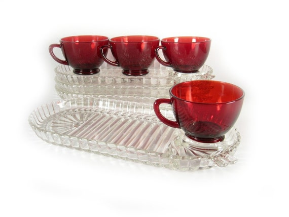 Vintage Depression Glass Royal Ruby Snack Set