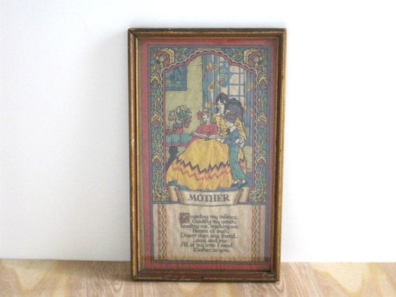Vintage Mother Poem Framed Print - Shabby Cottage Chic