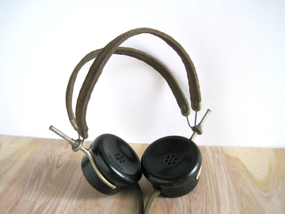 Vintage WWI Telegraph Headphones Headset