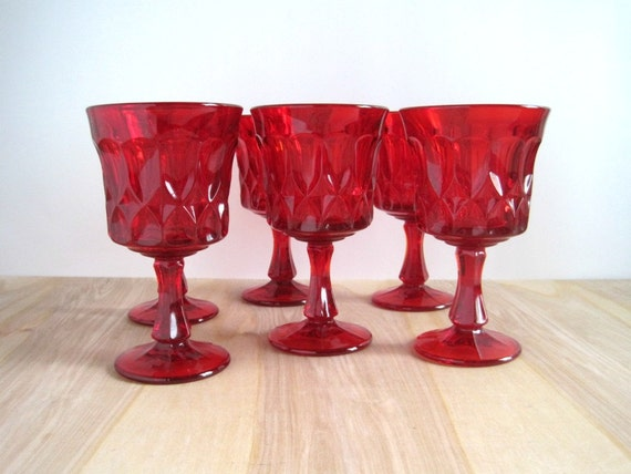 Vintage Ruby Glass Water Goblets - Red Glasses - Set of 6