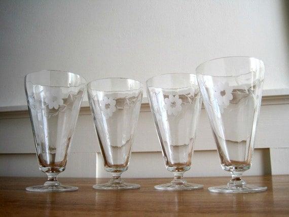 Vintage Cut Glass Iced Tea Glasses - Set of 4 Footed Tumblers