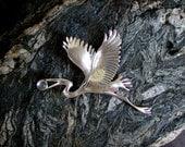 Great Blue Heron Brooch/ sterling silver