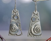 Cosmic Scroll drop Earrings - sterling silver